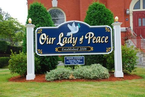 Our Lady of Peace-Mahogany Wood panel 8ft