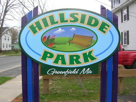 Greenfield's Hillside Park= custom shaped panel with special wood posts system