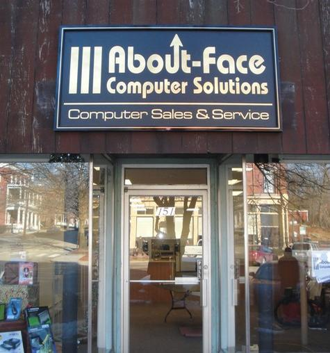 About-Face Computer-all aluminum framed wall sign