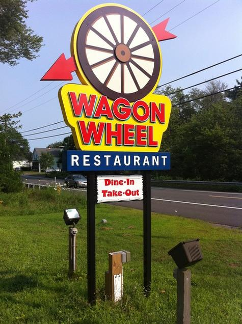 Wagon Wheel Restaurant- dimensional aluminum and PVC panel sign