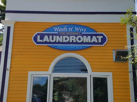 Wash N Wire Laundromat-Shaped PVC wall sign